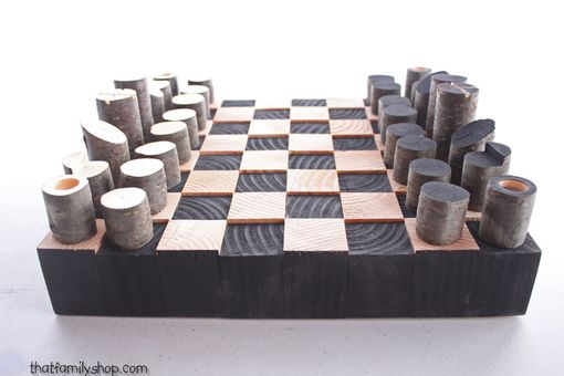 Buy Custom Made Modern Minimalist Rustic Chess Set Wood