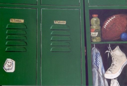 Hand Crafted Closet Doors Painted Trompe LOeil Style To Be A Sports Locker By Painted