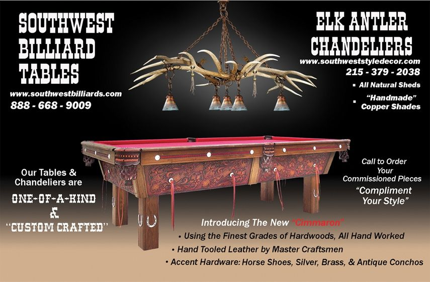 Hand Made Elk Antler Chandelier Above Pool Table By
