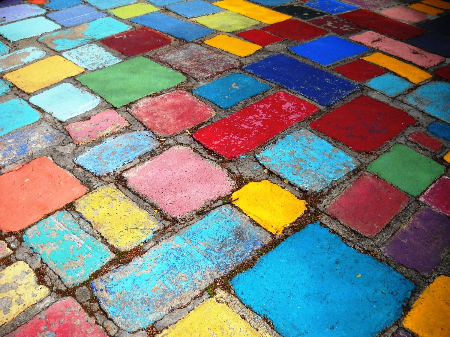 Hand Crafted Painted Spanish Tiles Blue Yellow And Red