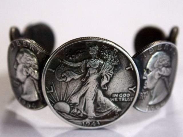 Custom Womens Liberty Silver Coin Cuff Bracelet Size 7 Small By Nanas Jewelry