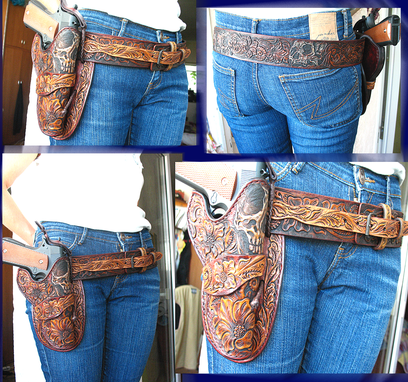 Buy A Hand Crafted Hand Tooled Carved Western Leather Ranger Gun Belt And Leather Holster For