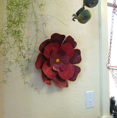 Custom Handmade Upcycled Metal Hibiscus Flower Wall Art In