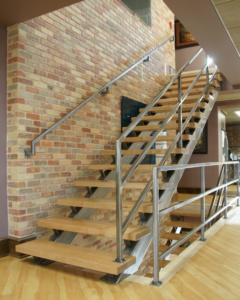 Hand Crafted Modern Steel And Wood Staircase By Fast Lane