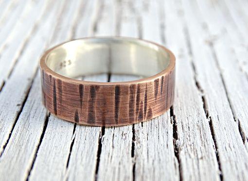 Buy A Custom Made Mixed Metal Wood Grain Ring Bronze