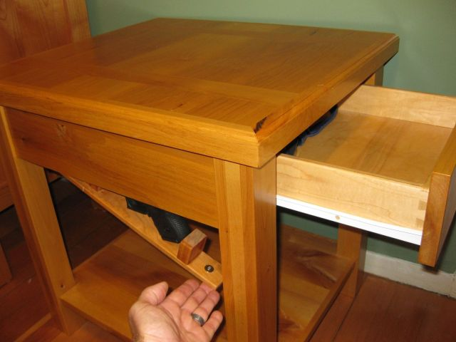Custom Made Bedside Table With Secret partment by Cope