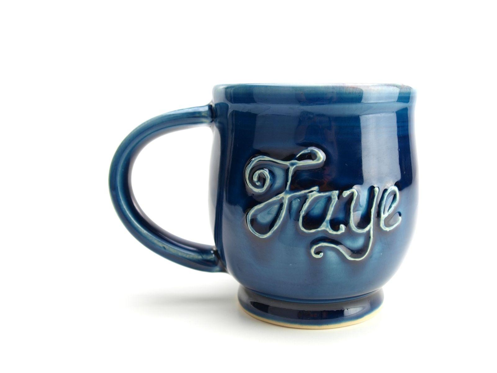 Handmade Custom Personalized Name Coffee Mug Wheel Thrown
