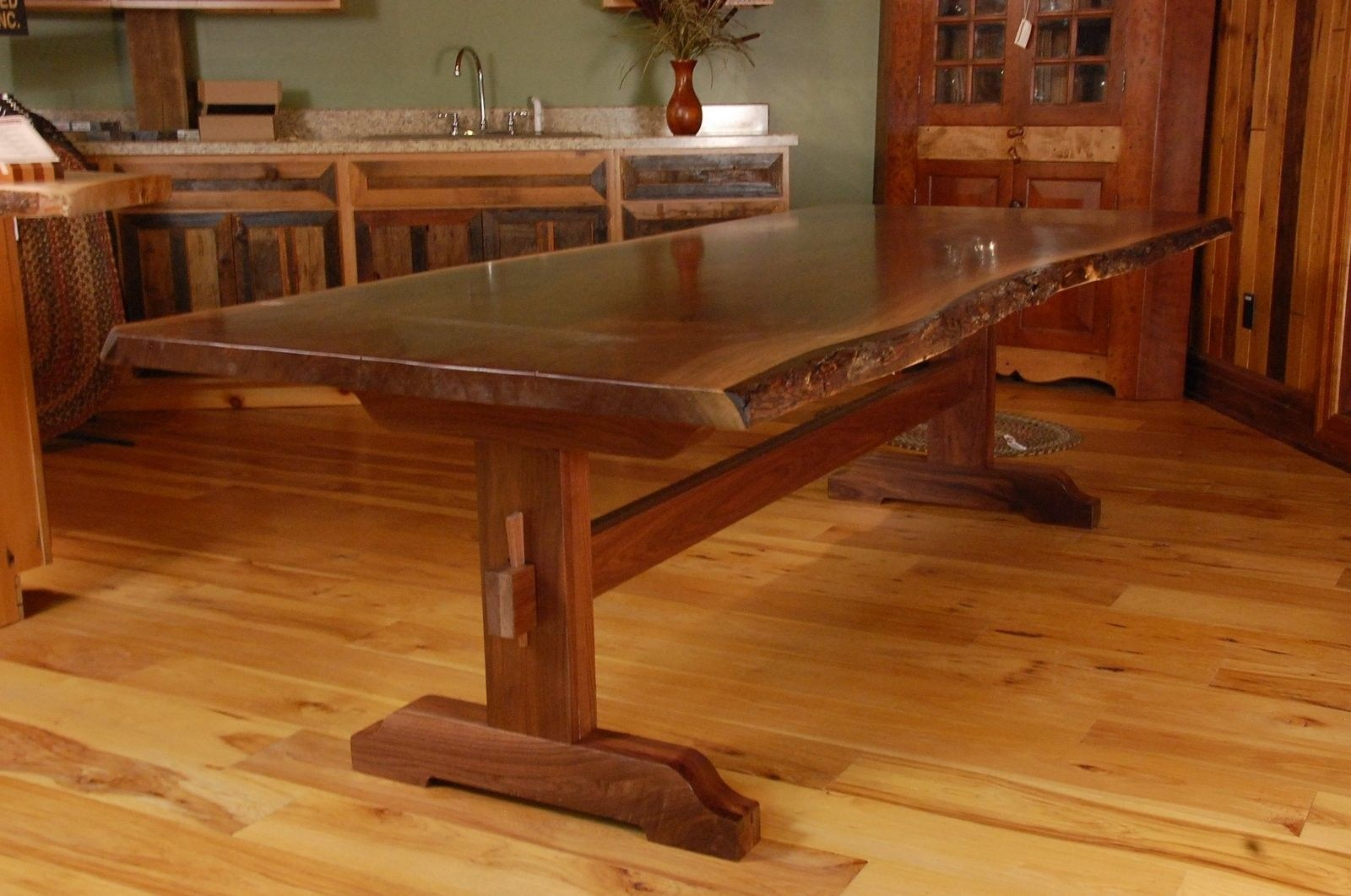 Hand Made Live Edge Walnut Slab Trestle Dining Table By Corey Morgan Wood Works