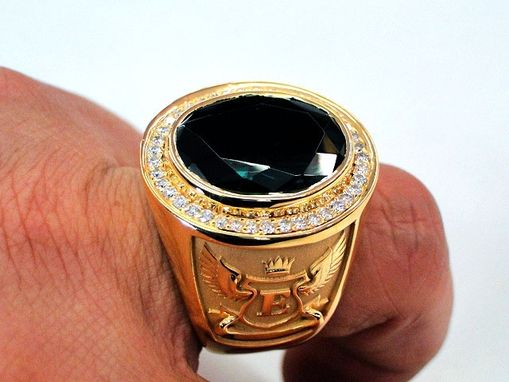 Custom Bishops Ring Green Stone Mens Signet 14k Yellow