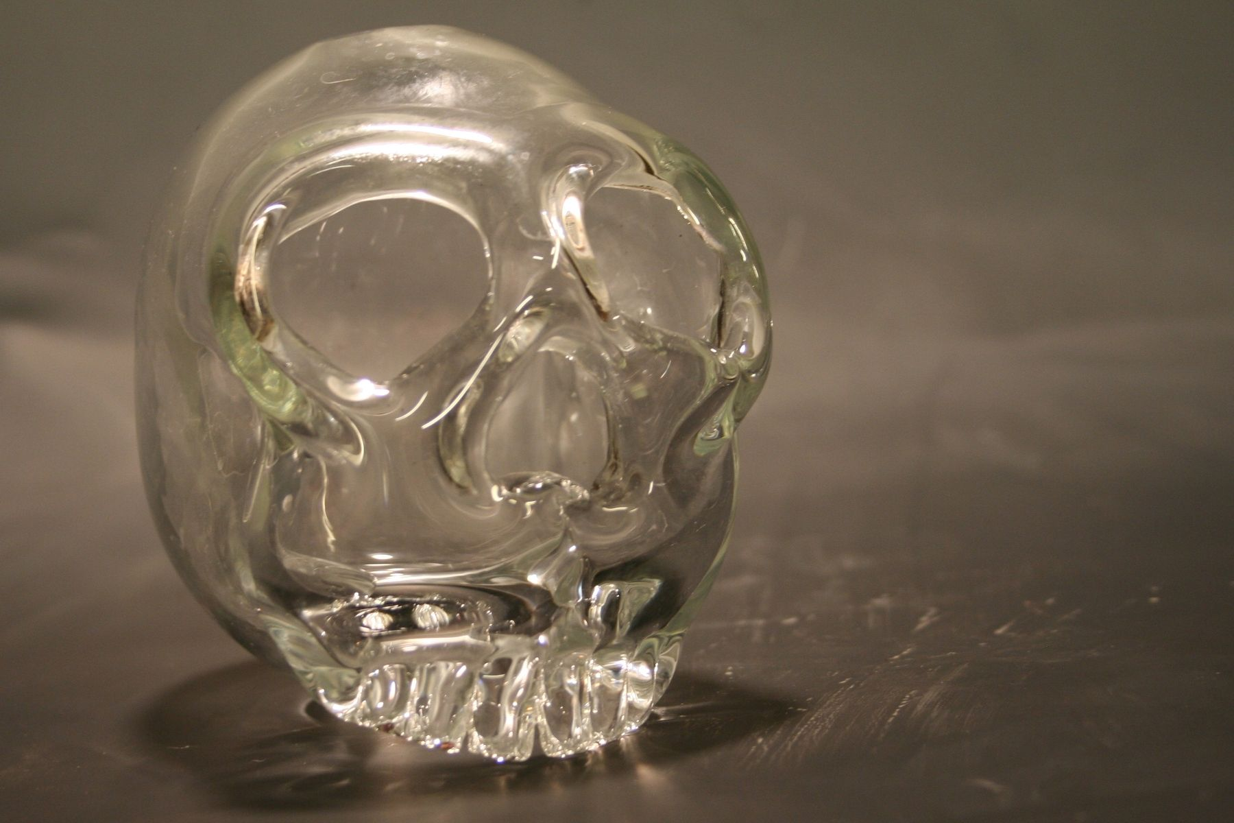 Hand Crafted Clear Blown Glass Crystal Skull By Band Glass