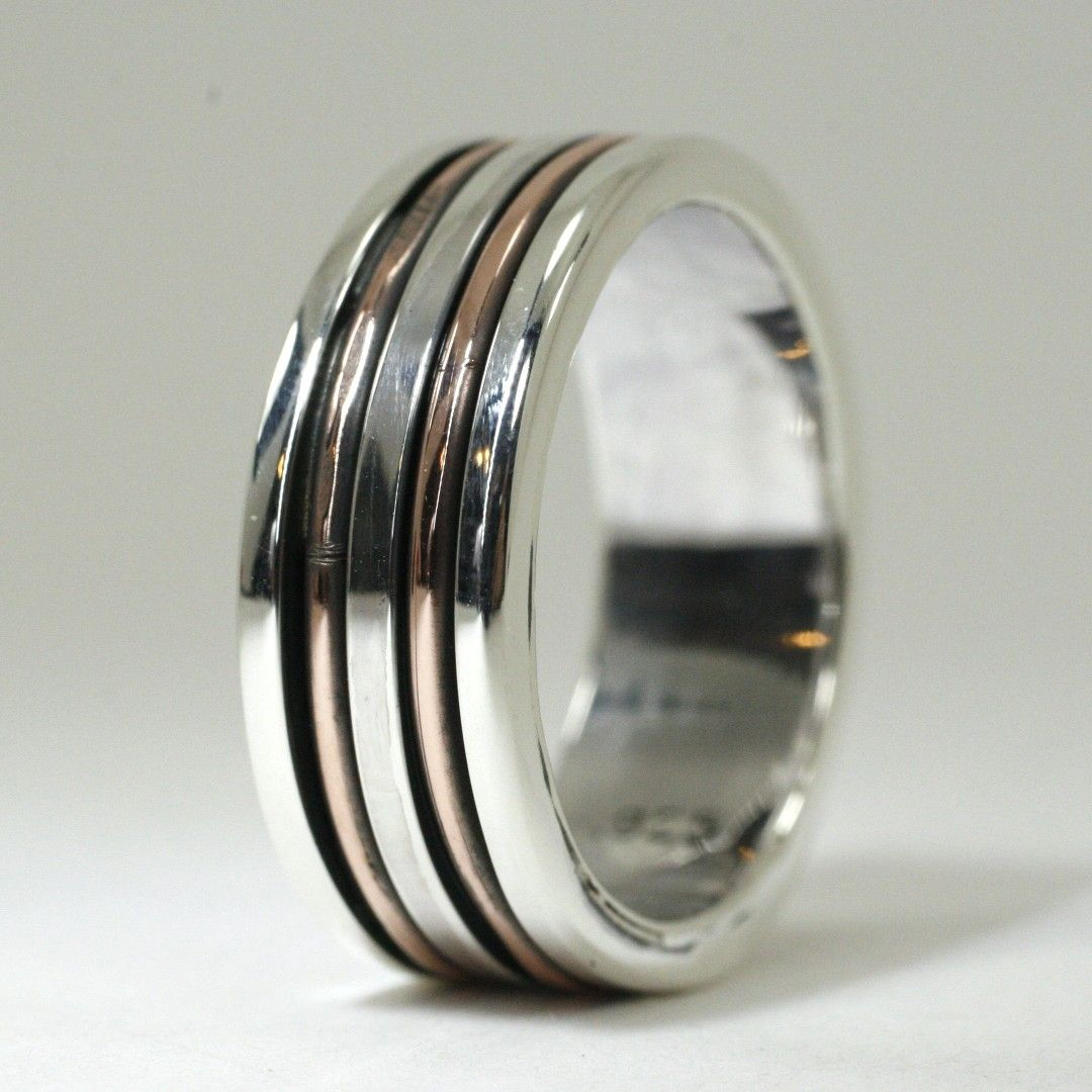 Custom Made Mens Sterling And Copper Wedding Band By Earth
