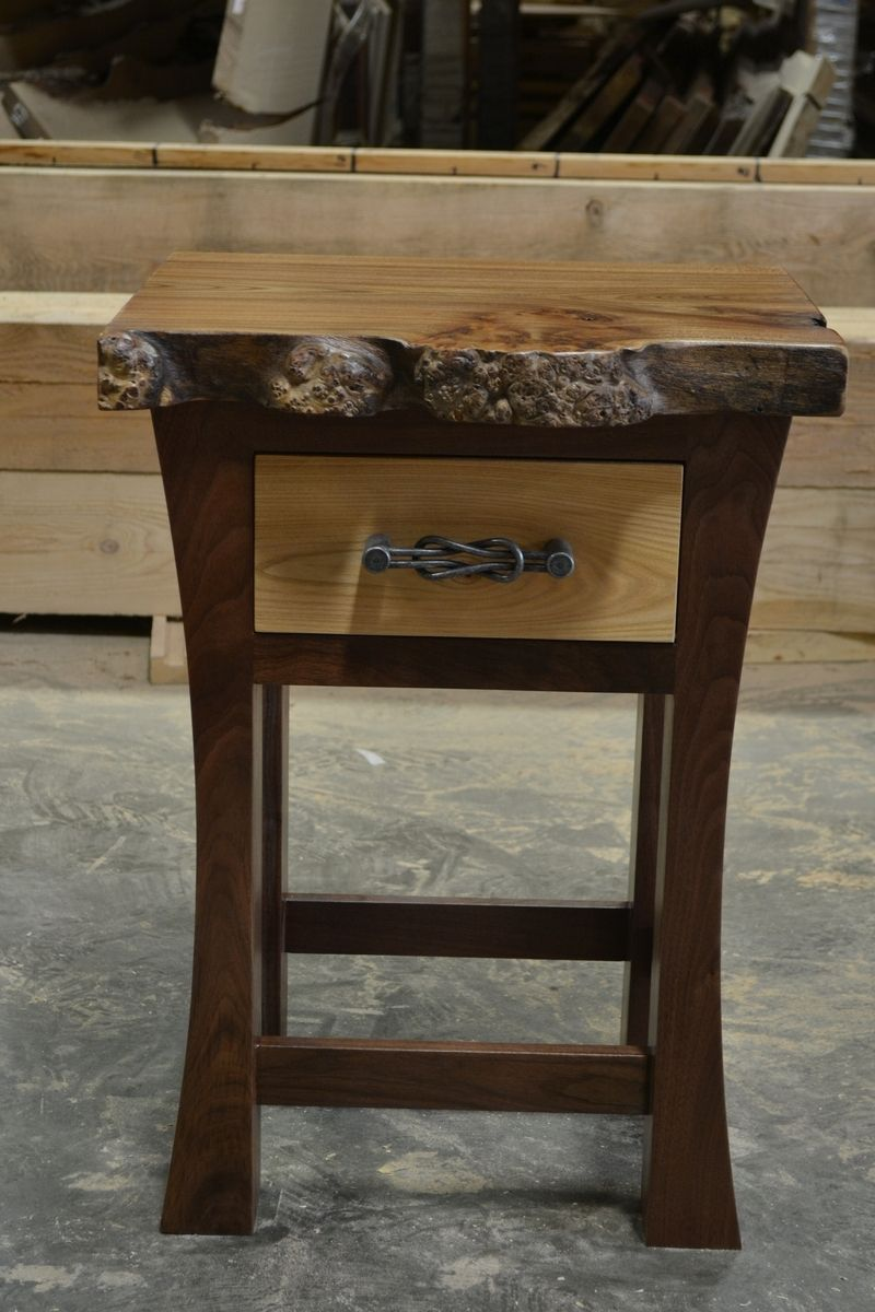 Custom Walnut And Elm Burl Live Edge Night Stand By Corey