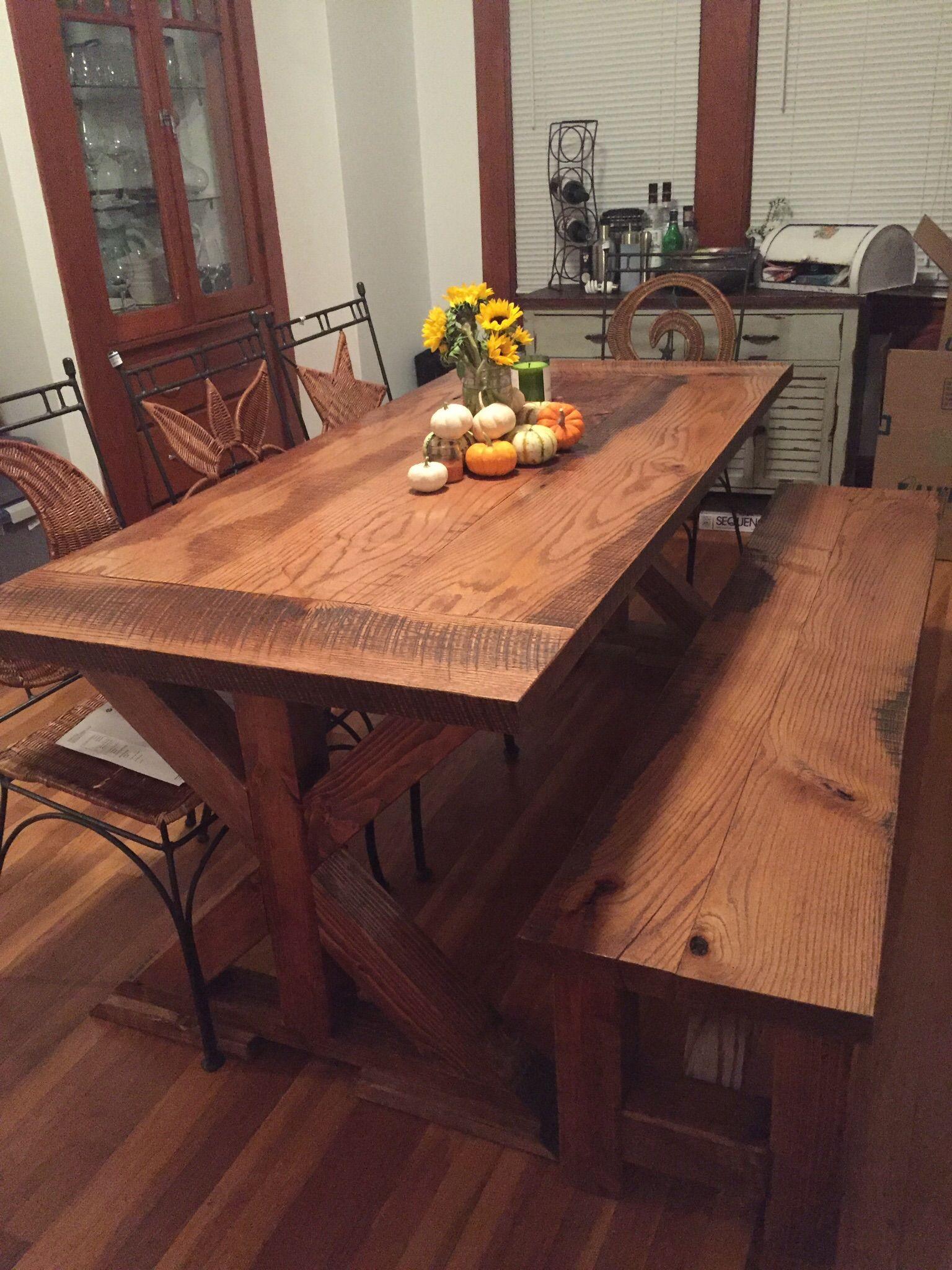 Handmade Reclaimed Oak Farm Table With X Base By Virginia Build Works