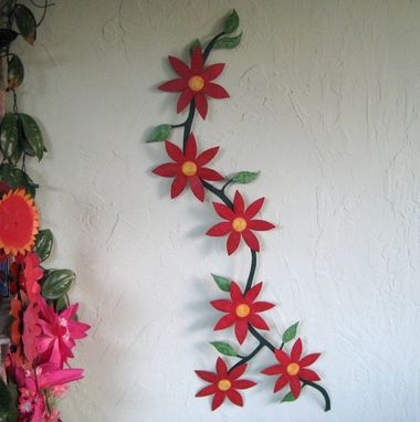 Hand Crafted Handmade Upcycled Metal Climbing Flower Vine Wall Art Sculpture By Frivolous