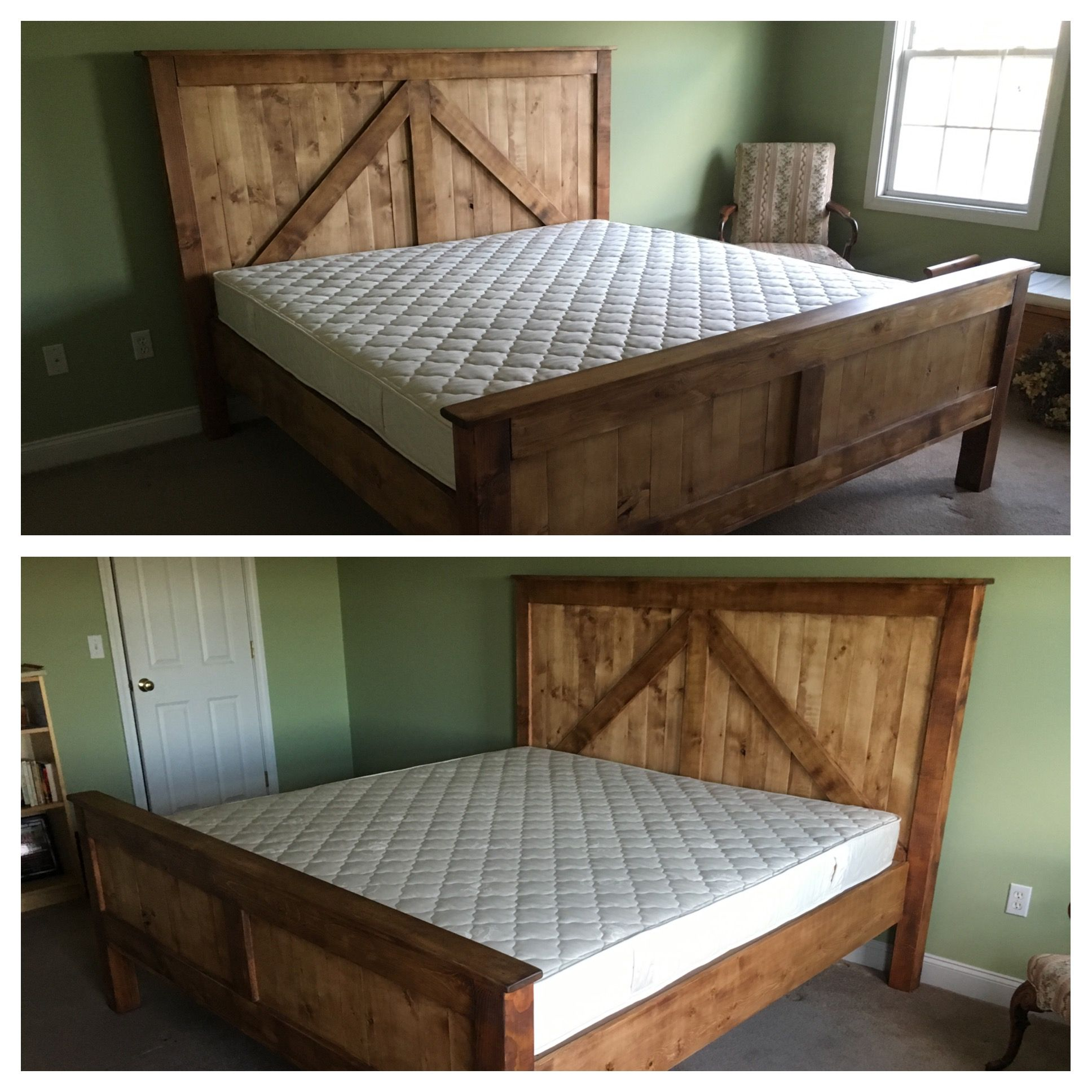 Hand Made Rustic King Size Farmhouse Bed W Platform By