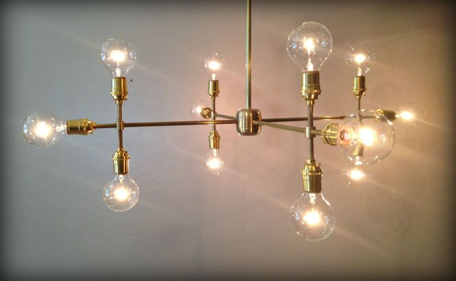 Custom Made Modern Contemporary Light Sculpture Multiple Edison Bulb Chandelier Lamp