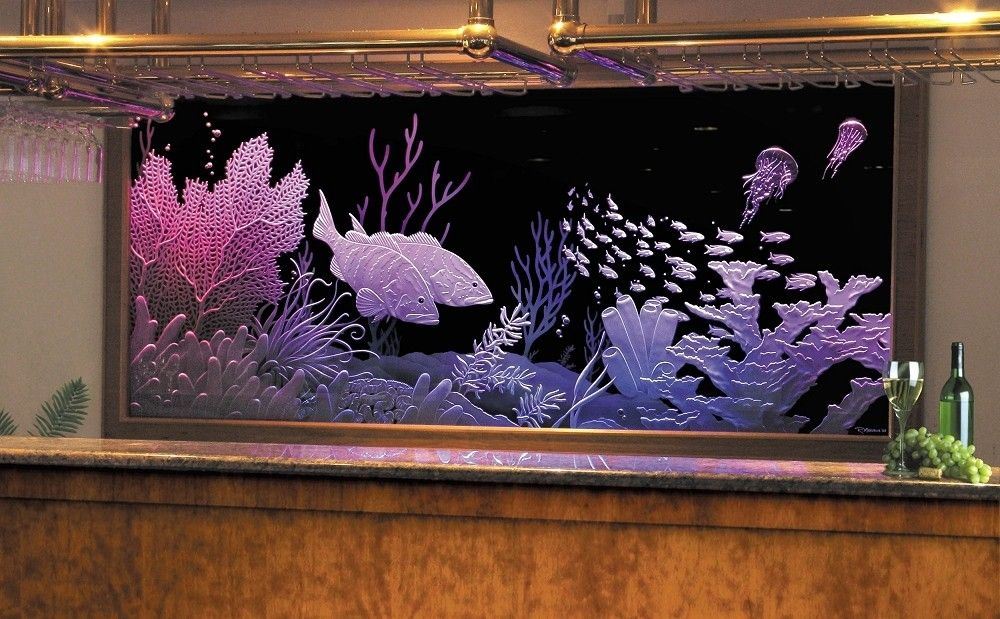 Custom Made Illuminated Carved Etched Glass Mega Yacht