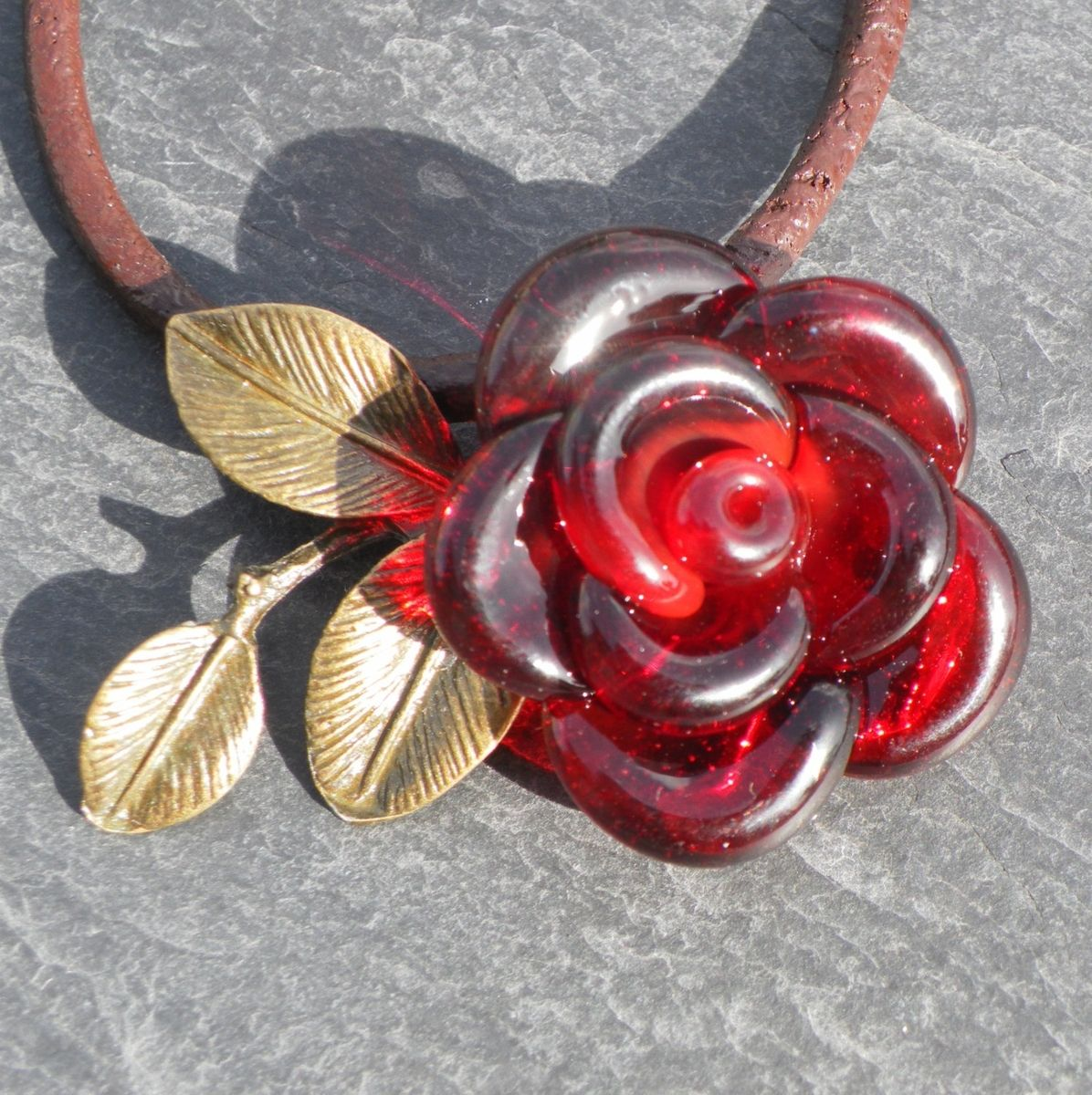 Custom Made Valentines Jewelry Red Rose Necklace Glass
