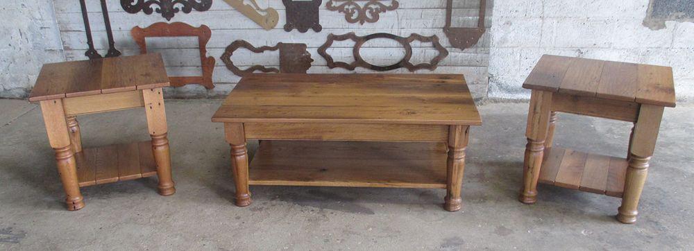 reclaimed oak coffee end table set