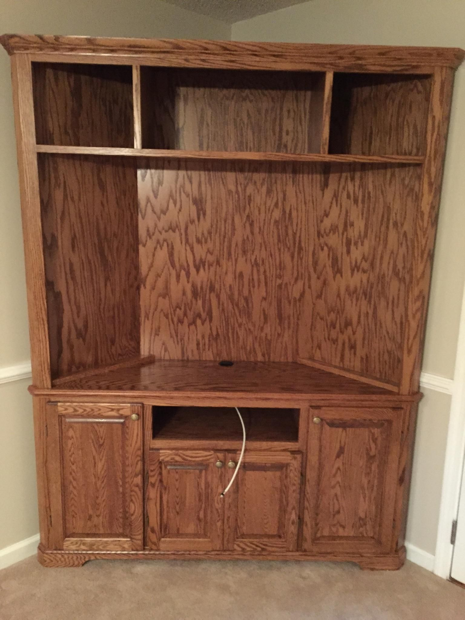 Custom Made Solid Oak Corner Entertainment Center By Yancy
