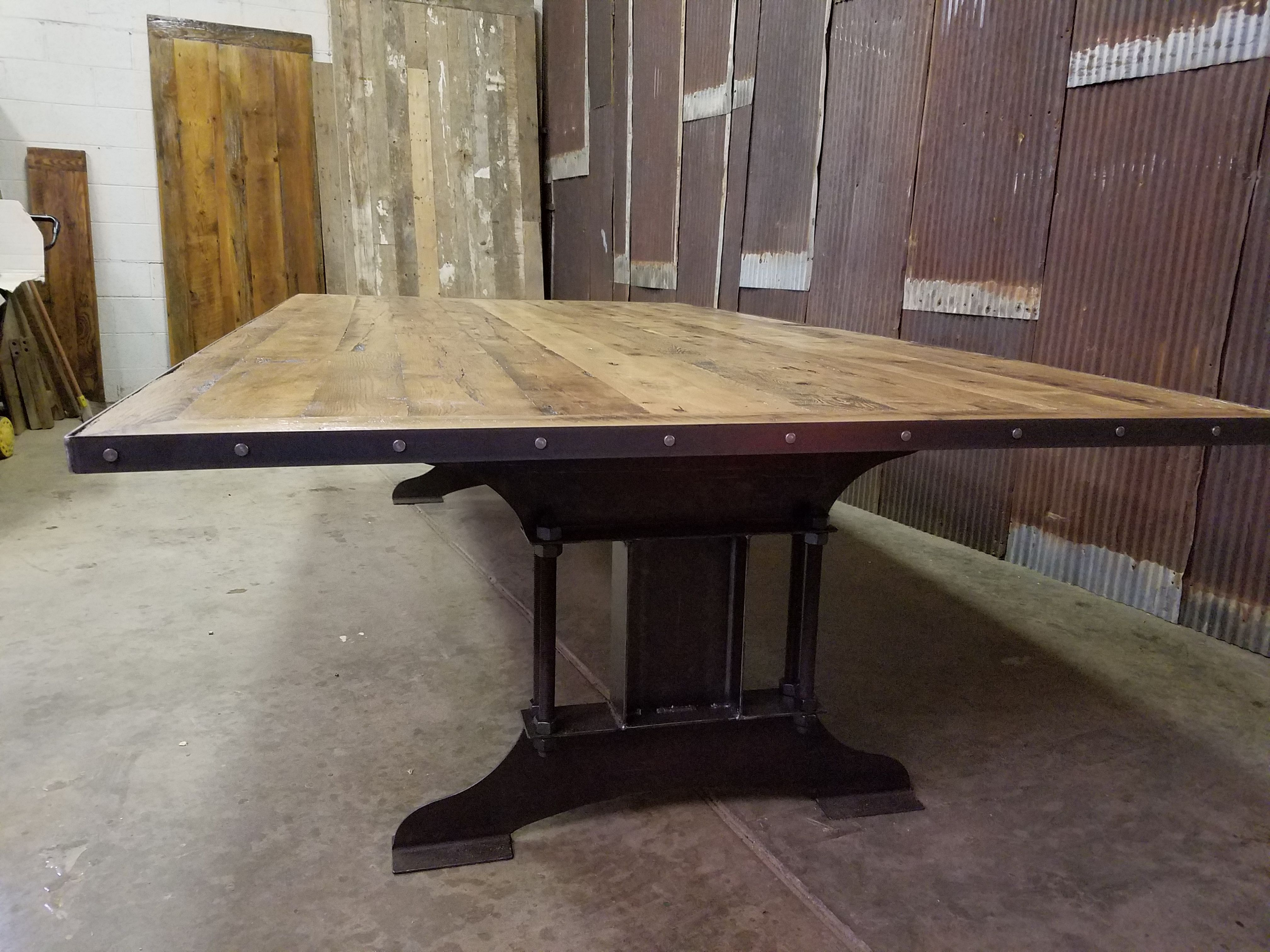 Handmade Industrial Reclaimed Barnwood Conference Table By