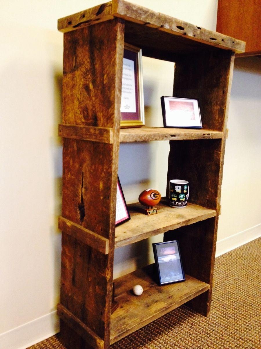 Hand Crafted Reclaimed Barn Wood Bookshelf By Taj Woodcraft
