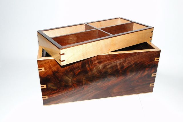 Custom Walnut And Curly Maple Men s Watch Box With Hidden Drawer