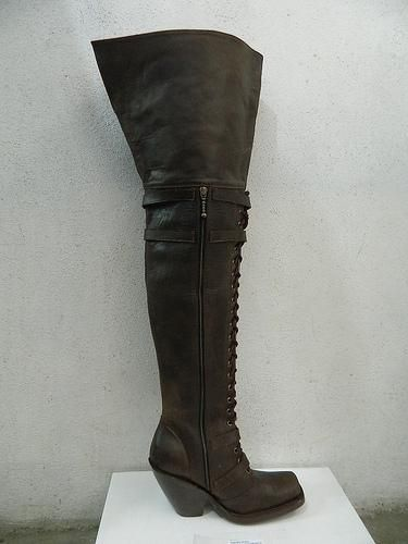 Hand Crafted Thigh 34 Inches Tall Boots Square Toe Zipper