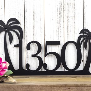 Metal House Numbers and Letters in Steel and Iron   CustomMade com Palm Tree House Number Metal Sign   Address Sign   Address Plaque   Outdoor  House Number