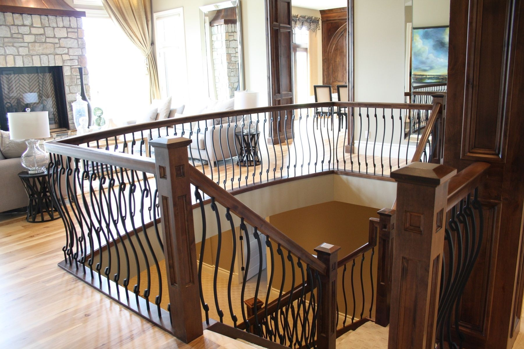 Custom Made Wood Stair Rail With S Shaped Spindles By Prestige   Custom Wood Stair Railing   Natural Wood   Barn Beam   Metal Spindle   Attic Stair   Rail