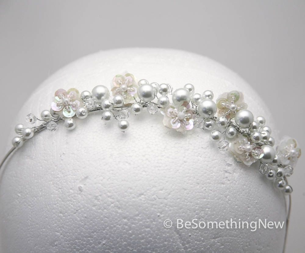 Hand Crafted Wired Pearl Tiara With Sequin Flowers