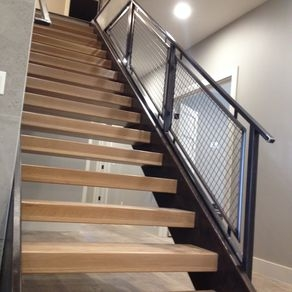Custom Railings And Handrails Custommade Com | Mid Century Stair Rail | Basement | Fixer Up | U Shape | Plywood | Hand