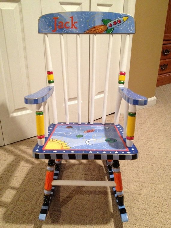 Hand Made Custom Hand Painted Childs Rocking Chair Youth