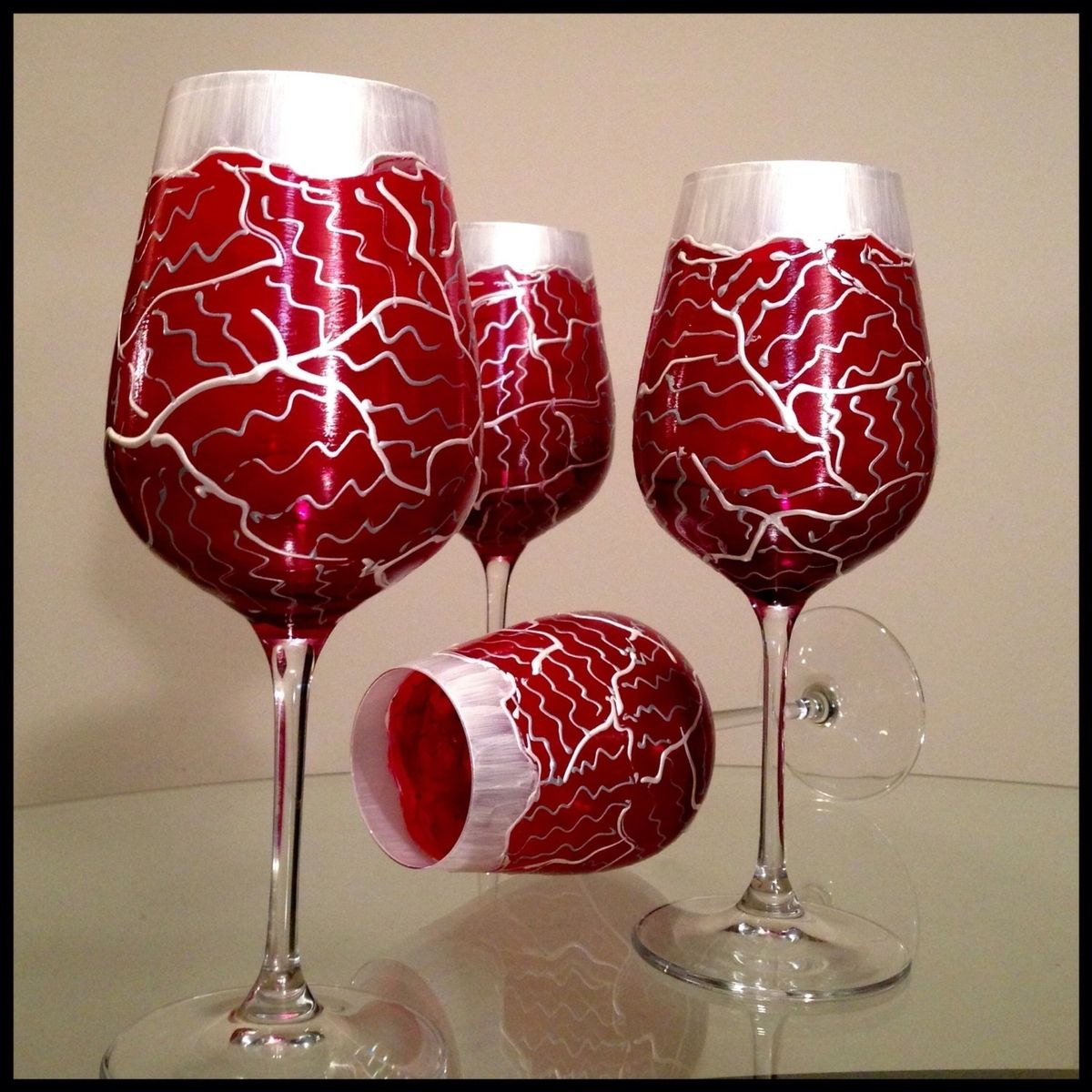 Hand Made Hand Painted Wine Glasses Custom Valentines