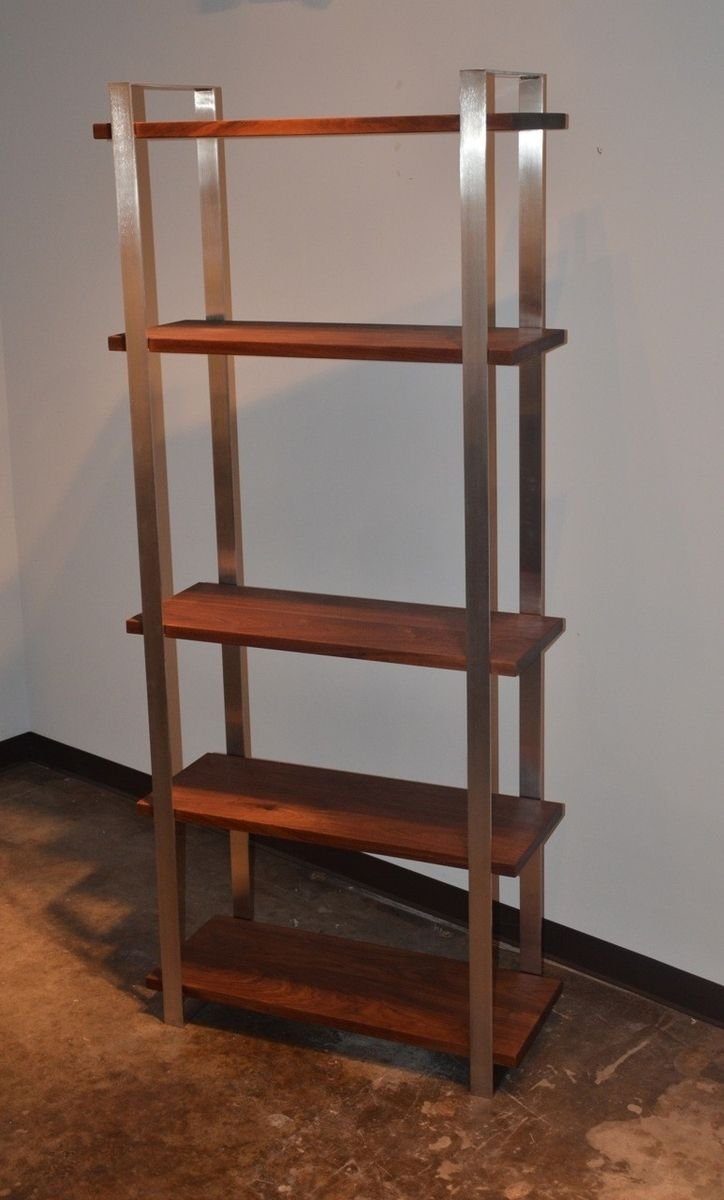 Handmade American Walnut And Stainless Steel Book Shelf By