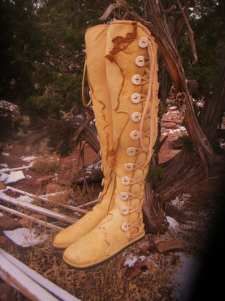 Handmade Golden Moose Hide Leather Thigh High Moccasins By