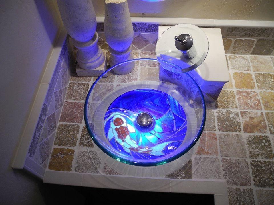 Handmade Custom Back Lit Glass Koi Fish Mosaic Vanity And