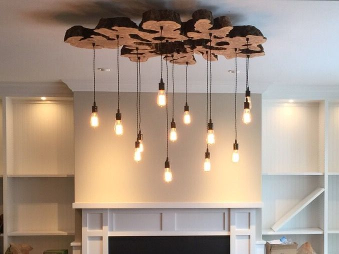extra large live edge olive wood chandelier rustic and industrial light fixture