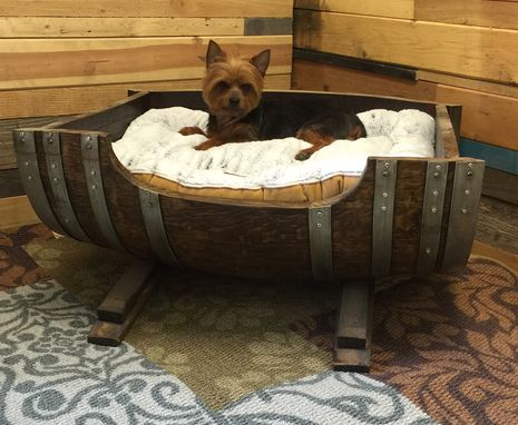 Buy A Custom Made Personalized Large Wine Barrel Dog Bed