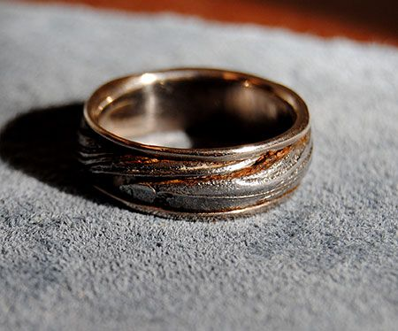 Custom 18k Palladium White Gold Mens Ring Damascus Steel