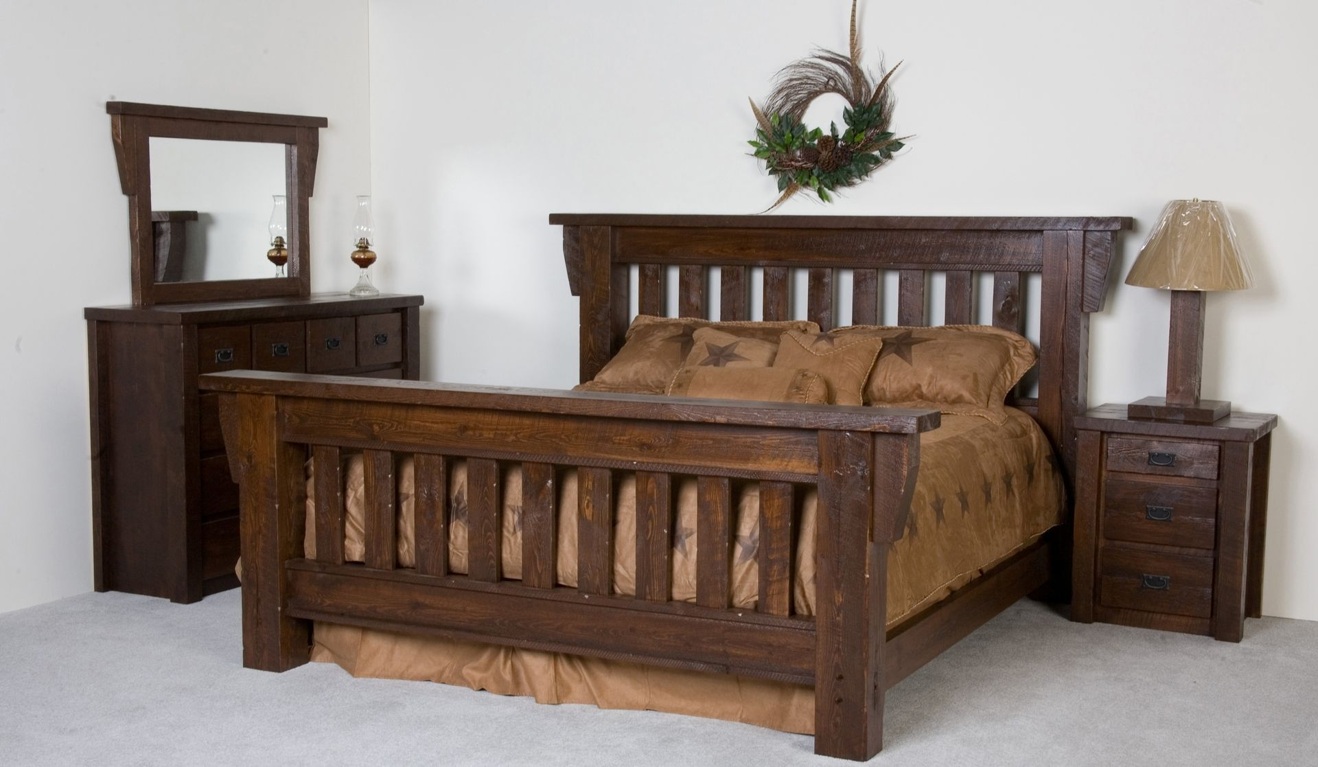 Hand Crafted Timberwood Barnwood Bed Frame By Viking Log