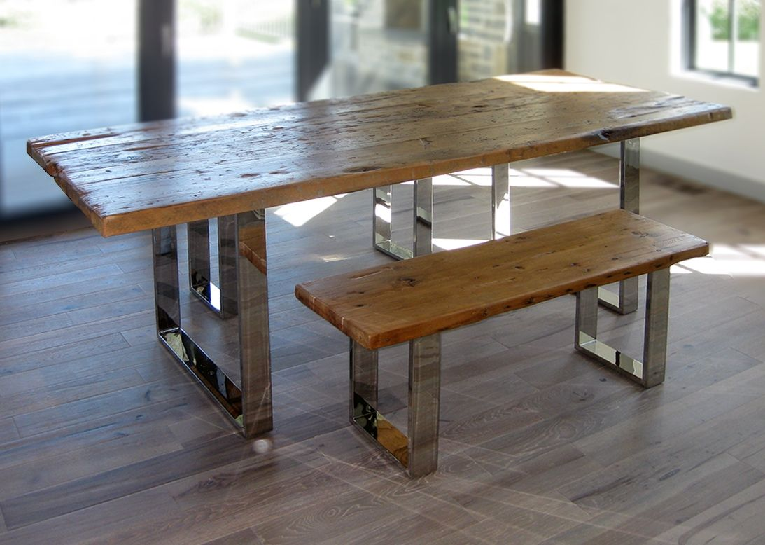 Hand Crafted Modern Reclaimed Wood Table And Benches By