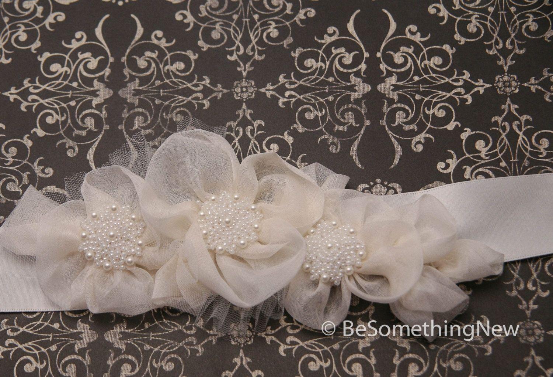Custom Made Wedding Dress Sash, Silk Organza Flowers And