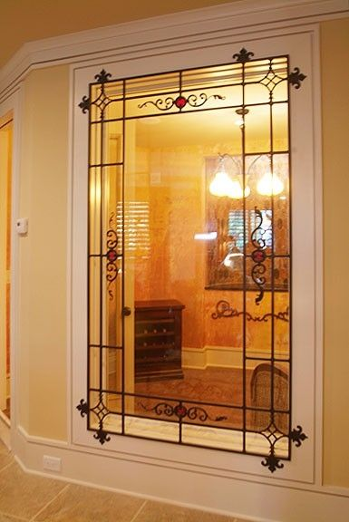 Hand Made Wine Cellar Window With Wrought Iron Grill By The Looking Glass