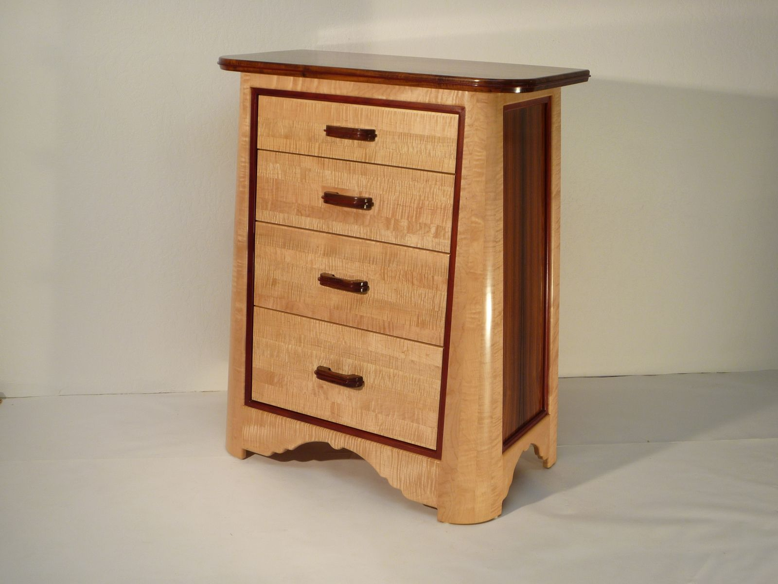 Custom Made Curly Maple And Walnut Dresser By Natural