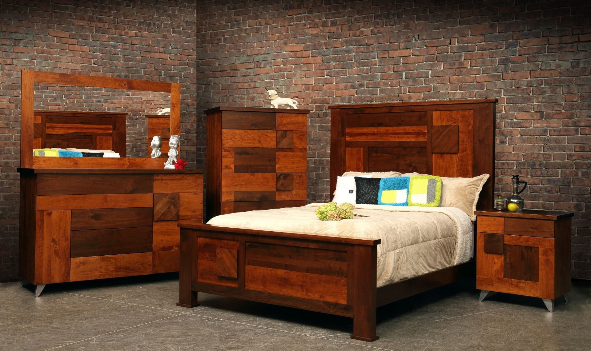 Hand Crafted Arial Fields Modern Walnut Cherry Bedroom Set