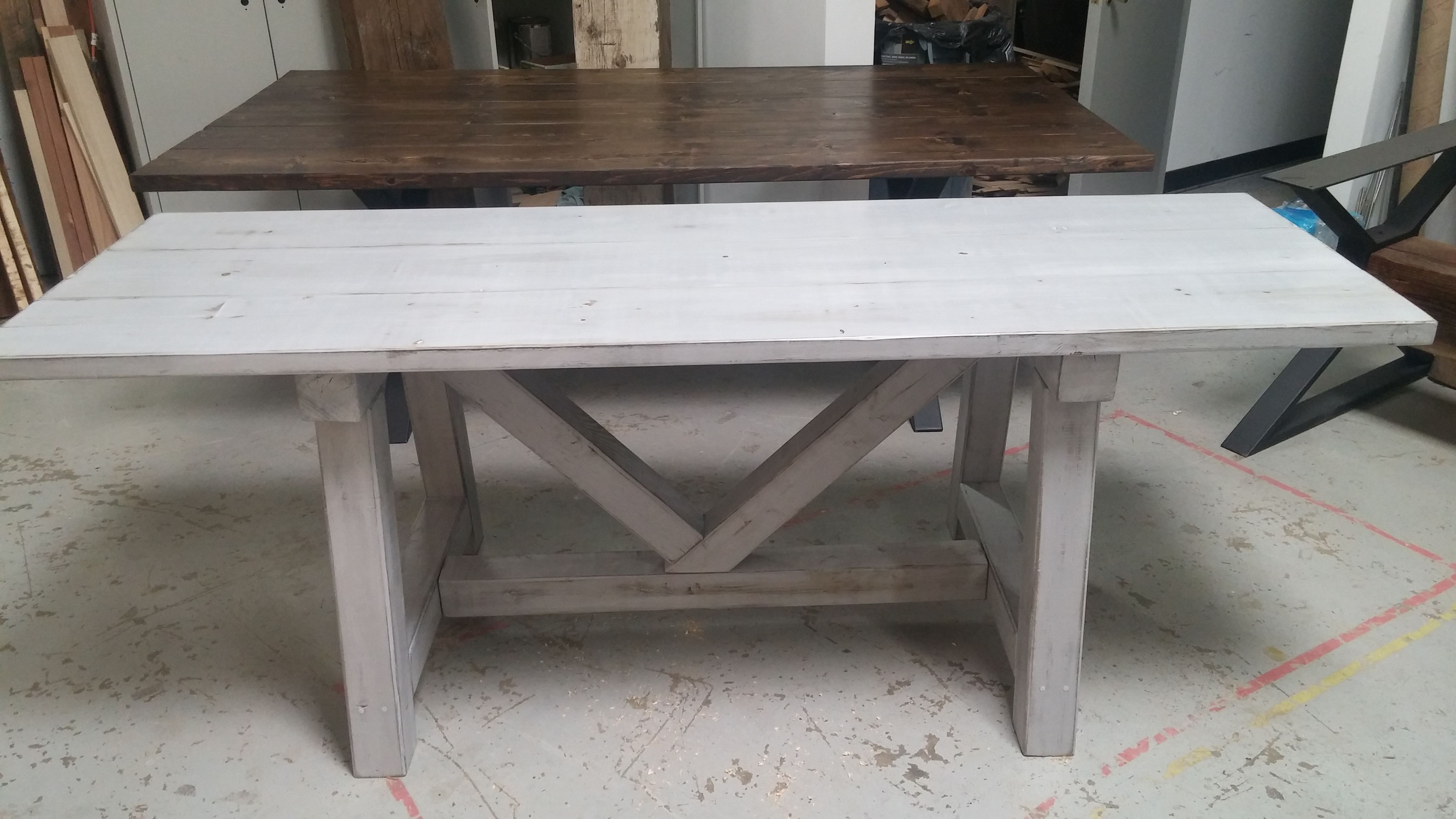 hand made distressed grey trestle