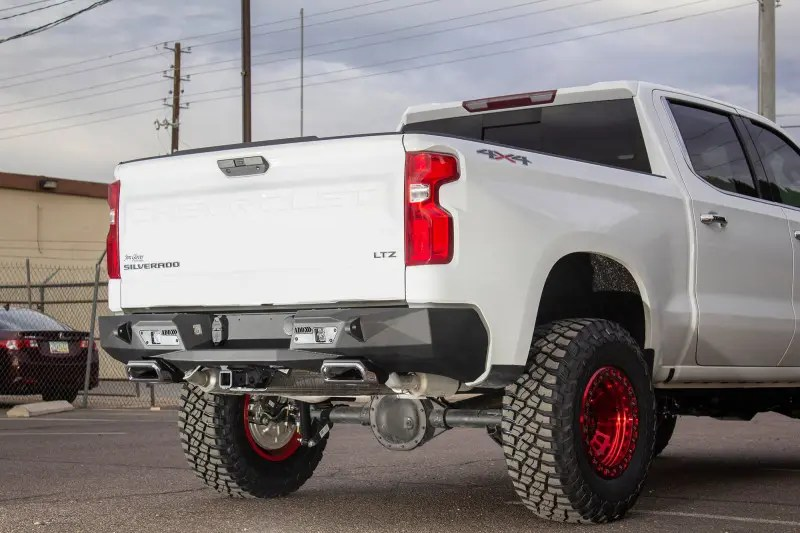 add offroad stealth fighter rear bumper w exhaust tips 19 chevy gmc 1500
