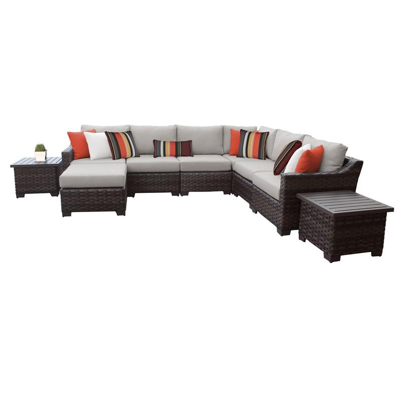kathy ireland river brook 9 piece outdoor wicker patio furniture set 09b