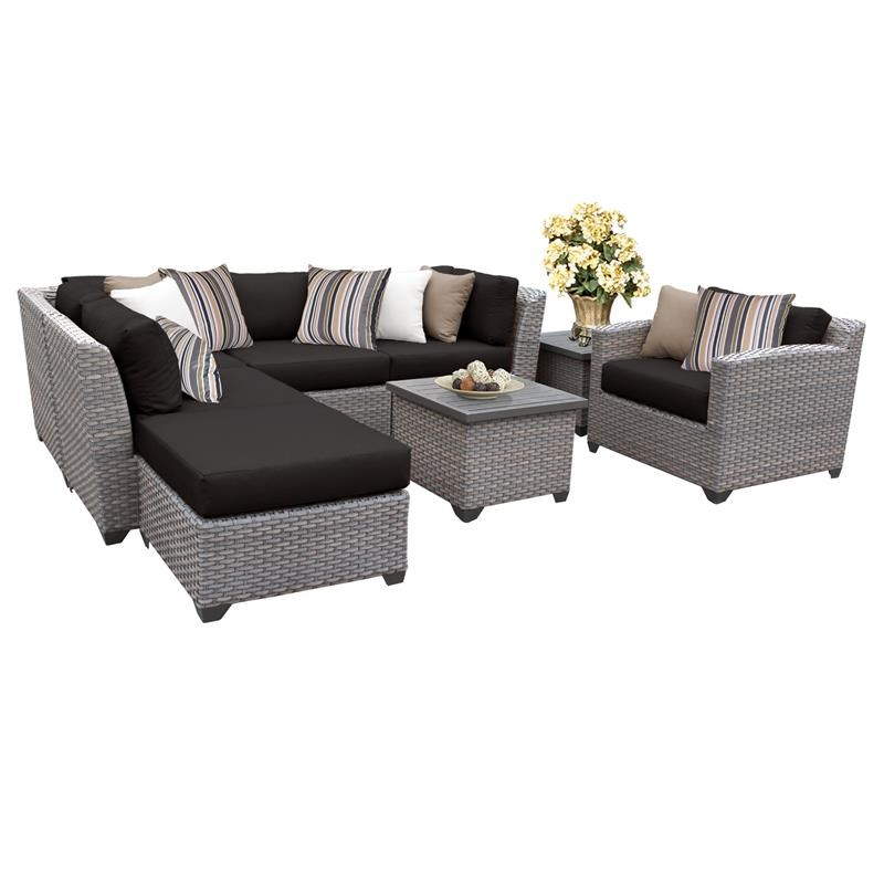 florence 8 piece outdoor wicker patio furniture set 08g in black